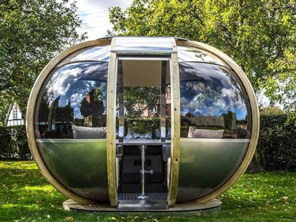 garden pods - photo of an oval garden pod in glass.