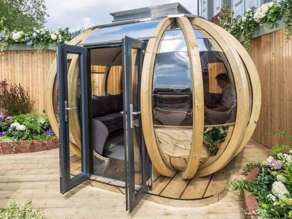 garden pods - photo of a garden pod with glass doors.