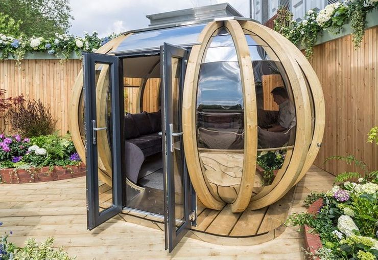 garden pods - photo of a garden pod with glass doors.